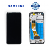 Дисплей Samsung A115 Black A11 2019 (GH81 18760A) сервисный оригинал с рамкой