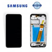 Дисплей Samsung A015 Black А01 2020 (GH81 18209A) сервисный оригинал в сборе с рамкой узкий коннектор