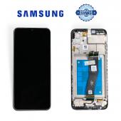 Дисплей Samsung A022 Black А02 2021 (GH81-20181A) сервисный оригинал в сборе с рамкой