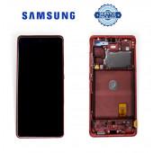 Дисплей Samsung G780 Red S20 FE (GH82-24219E) сервисный оригинал в сборе с рамкой